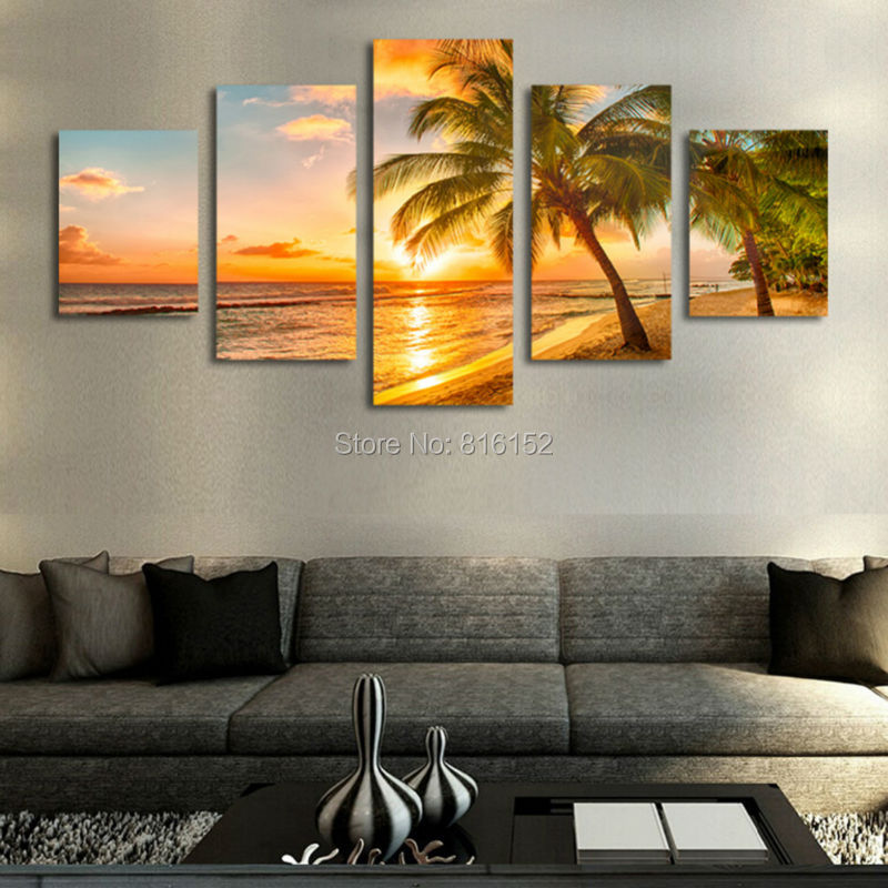 5 Piece Unframed Sunset Seascape Inclued Coco Beach Modern Wall Art HD Picture Canvas Print Painting For Living Room Decor
