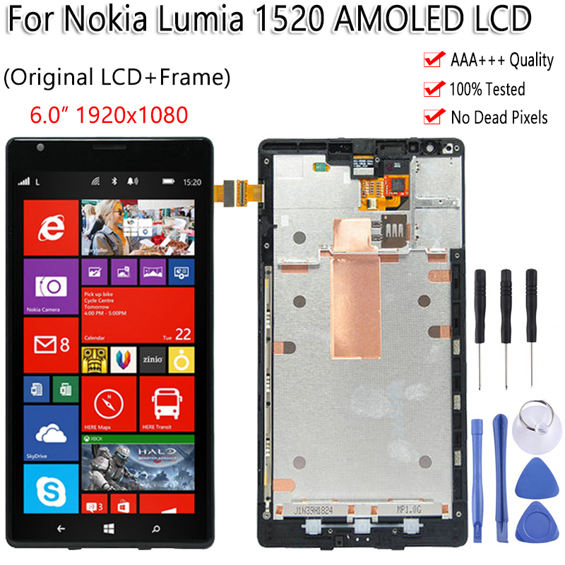 6.0 For Nokia Lumia 1520 LCD Display Touch Screen With Frame Digitizer Replacement Assembly Tested For Nokia 1520 LCD Display