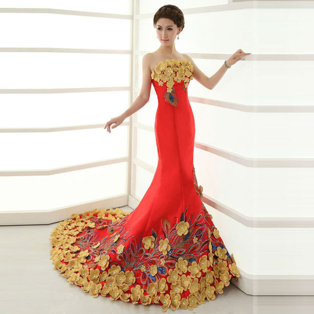 036512aa34 Red strapless fish with long trailing cocktail dress satin evening gown  bride qipao fashion PROM party