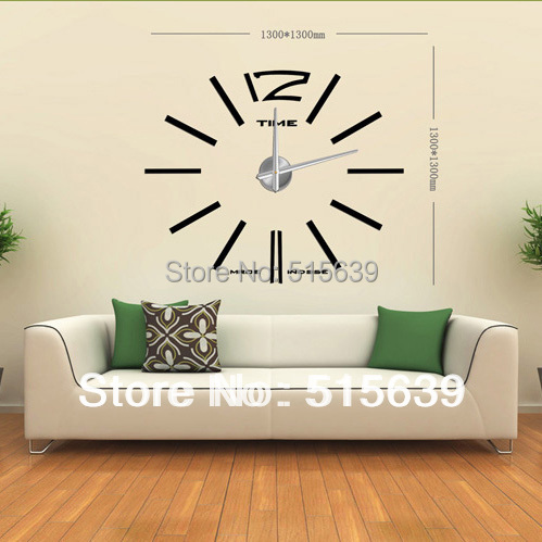 DIY Wall Clock Modern Design Home Decoration Decor Living Room Big Metal  Hours Watch Stickers Creative Design12S003