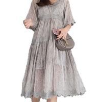 New Summer Dress Vintage Floral Women's Dress Large Size Sling Chiffon Dress Loose Big Size Lace Puff Sleeve Female Dress J380 1