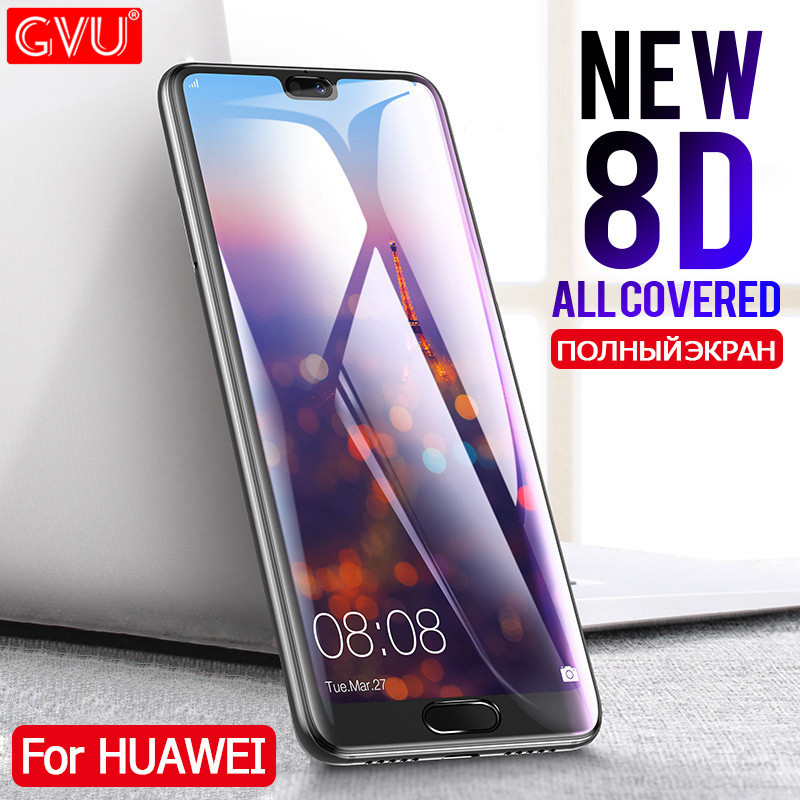 Image 1 - GVU 8D Full Cover Tempered Glass For Huawei P20 Lite P20 Pro Screen Protector For Huawei P20 Lite Nova 3E Protective Glass Film-in Phone Screen Protectors from Cellphones & Telecommunications