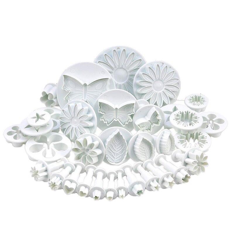 33 unids/set de plástico de la flor Fondant pastel decoración Sugarcraft herramientas émbolo cortador de hornear galletas molde