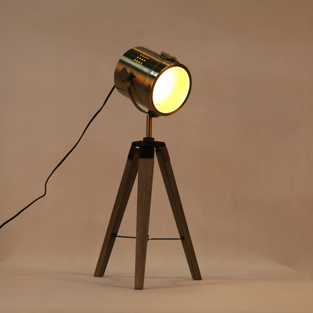 Retro Wood Tripod Table Lamp Modern Spotlight Lamp Photography - living room light stand