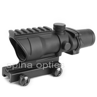 SPINA OPTICS Hunting ACOG 4X32 Scope Real Fiber Optic Red Green Illuminated Weaver Picatinny Rail Mount
