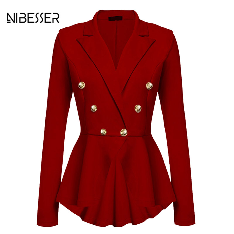 NIBESSER 2017 Autumn Winter Elegant Slim Button Jacket Women Fashion Long Sleeve Pleated Coat Female Irregular Windbreak Jackets