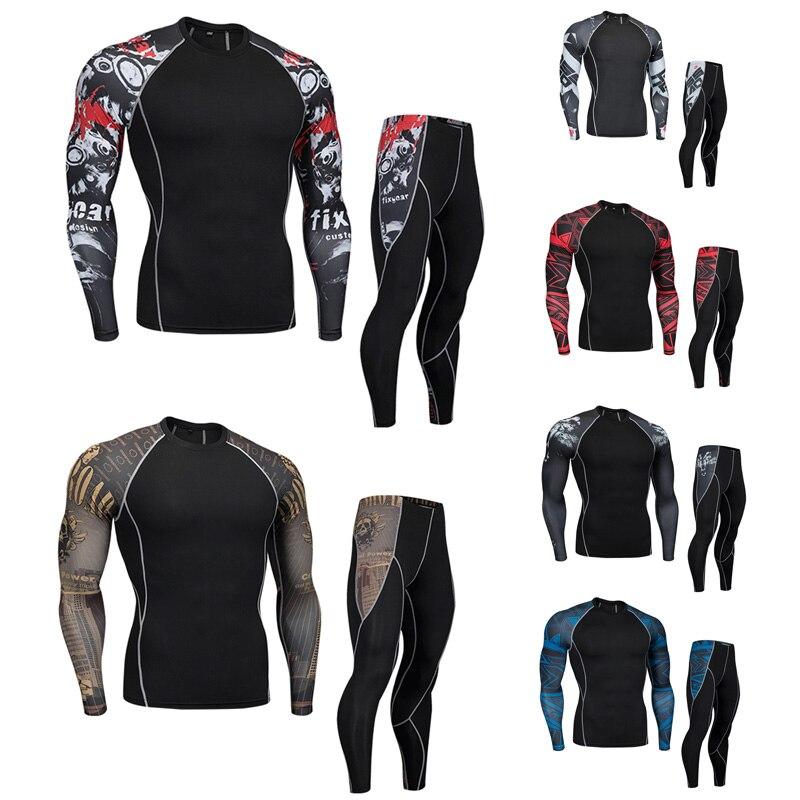 Men's Compressed Tracksuit Sets Fitness Men Long Sleeve Crossfit Tshirt Muscle Shirt Leggings Man Mma Rashgard Kit Free Express