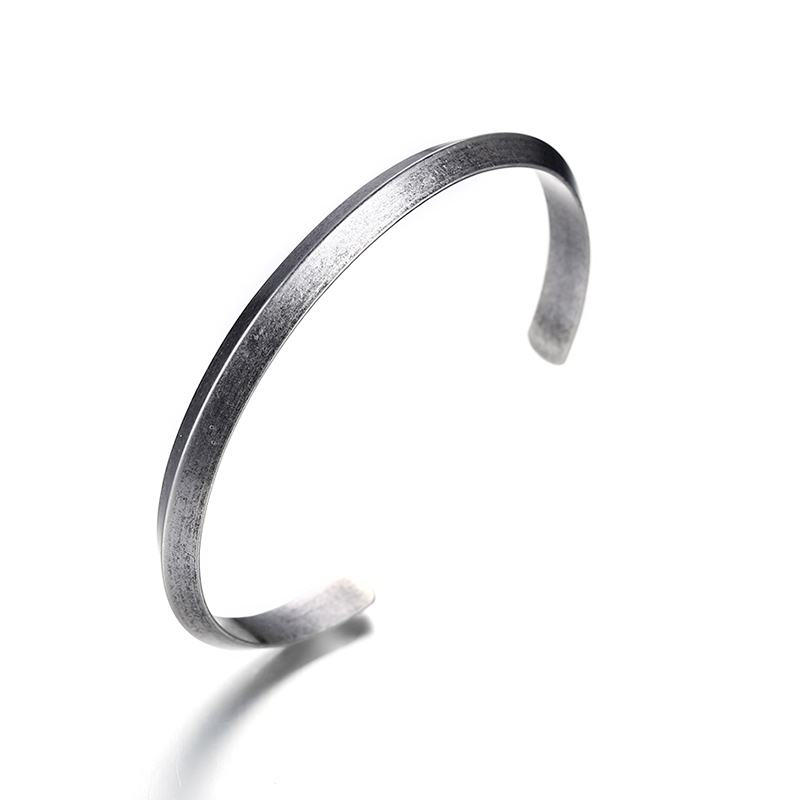 Mens Women Cuff Bang Bangle Bracelets Antique Silver Color Stainless Steel Pyramid Bracelet Pulseira Braslet Men Fashion Jewelry