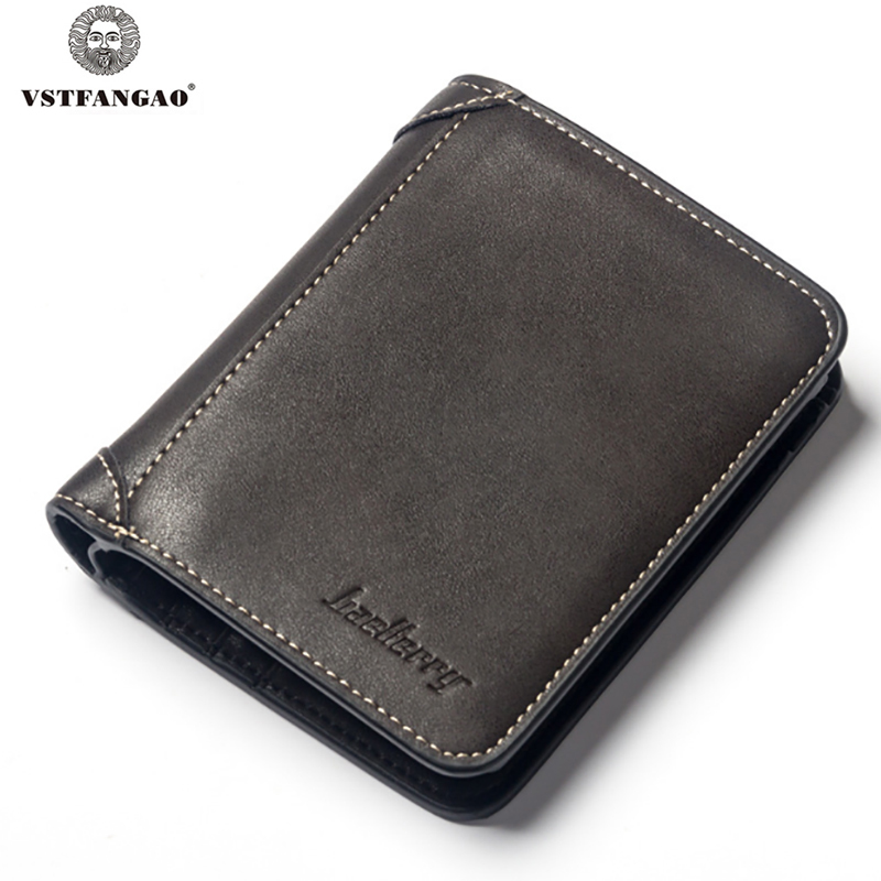 VSTFANGAO Casual PU leather Men Wallet Coin Pocket Brand Trifold Design Men Purse High Quality Male Card ID Holder male leather casual short design wallet card holder pocket
