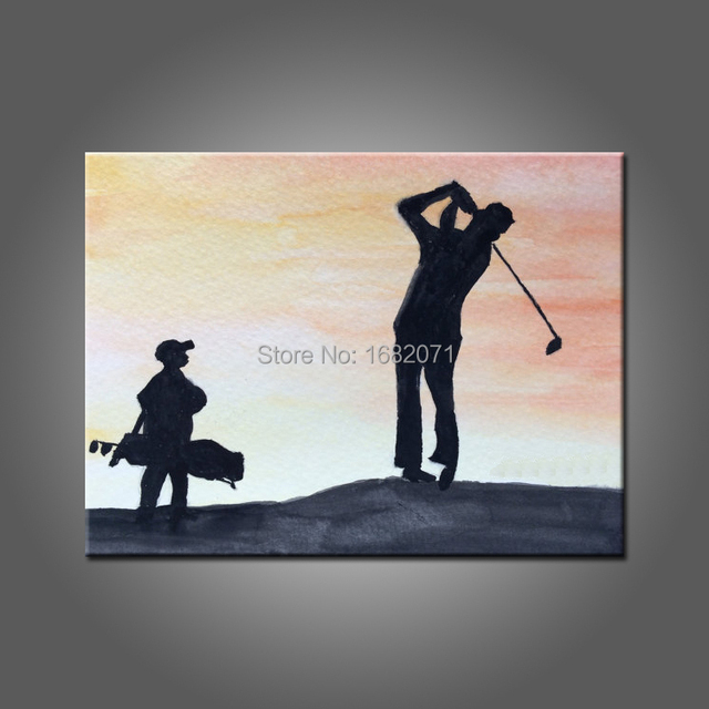 Superb Artist Supply High Quality Hand Painted Man Playing Golf Oil