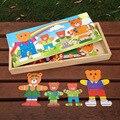 Multifuncional Brinquedos Educativos Engraçado Urso Trocar de Roupa De Madeira Puzzle Brinquedos Bons presentes para Crianças JM1510