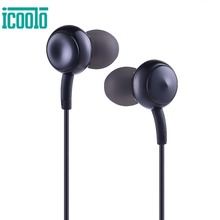 ФОТО icoolo wired earphones earbuds in ear with microphone 3.5mm wired control cable stereo sound deep bass earbuds for mp3 music