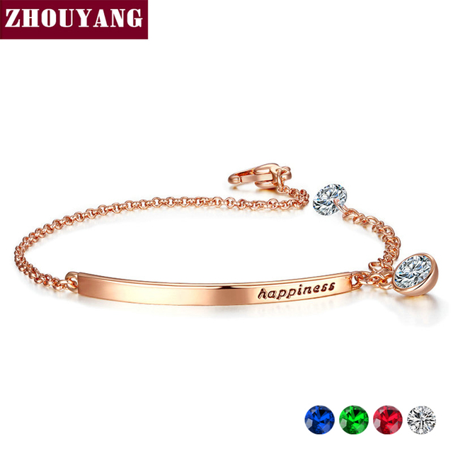 ZHOUYANG Blacelet For Women OL Style Cubic Zirconia Rose Gold Color Austrian Crystal Fashion Jewelry Friendship Gift ZYH195