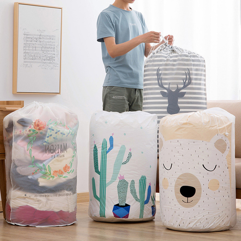 Cartoon Waterproof Foldable Storage Bag Organizer Clothes Blanket Quilt Closet Sweater Bag Container Home Storage Organization