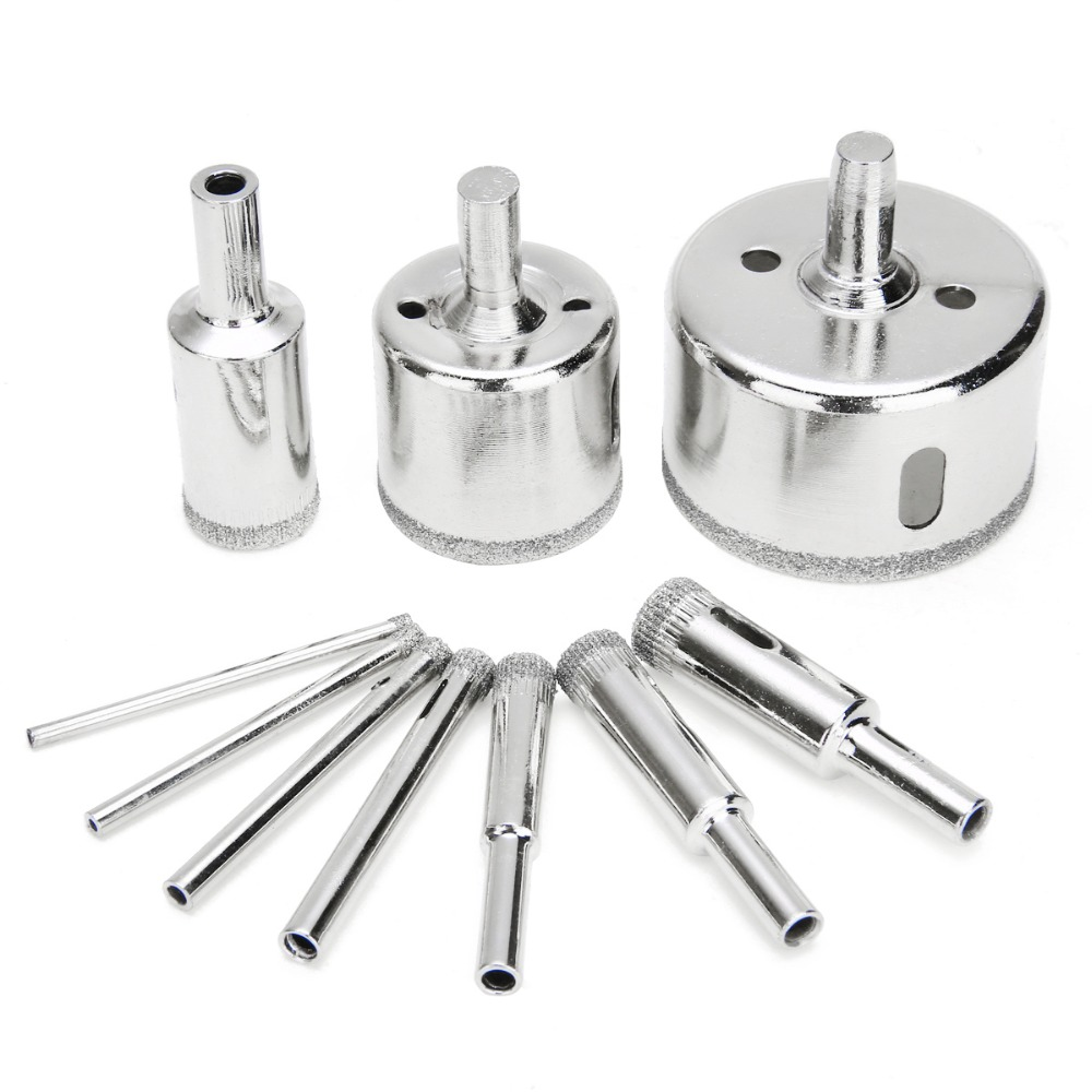 10pcs Diamond Hole Saw Marble Drill Bit Set 3-50mm For Glass Ceramic Tile Drilling Tools