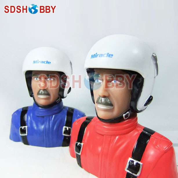 1/4 Scale Pilot Statues/Pilot Portrait Toy L115* W72* H120mm for RC Airplane -Blue/ Red Color cartoon airplane style red