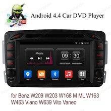 Android4.4 Car DVD 1024*600 For B/enz W209 W203 W168 M ML W163 W463 Viano W639 Vito Vaneo Quad Core DAB DVR TPMS radio