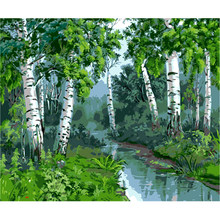 YIKEE decorative canvas oil painting by numbers,by numbers paint Forest brook(China)