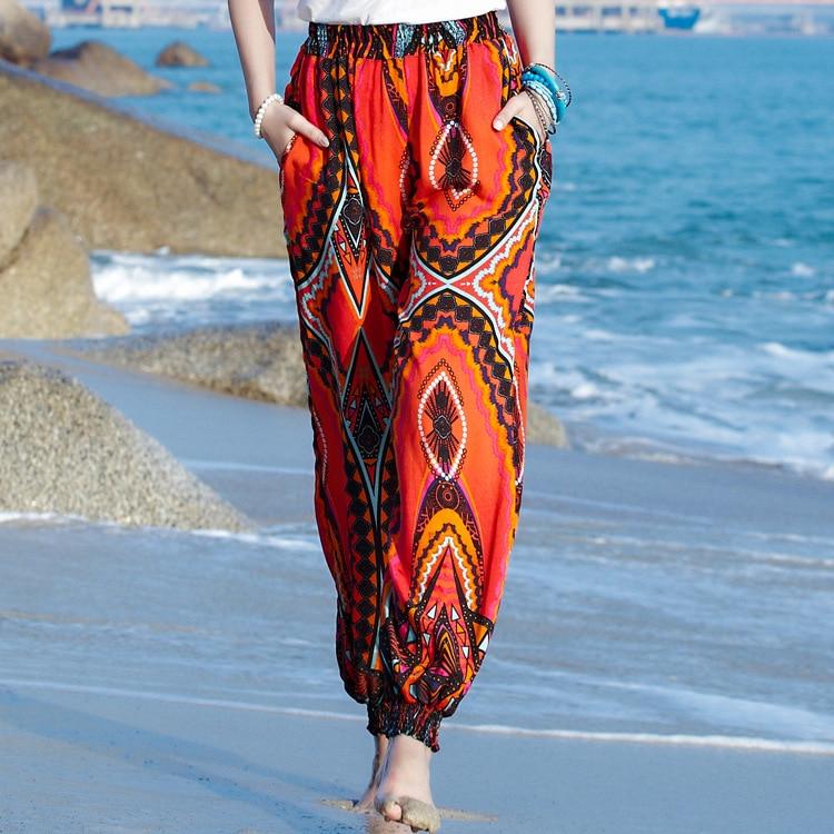 2017 summer Female casual harem flare pants high waist loose floral women Pants clothing print Vintage trousers plus size