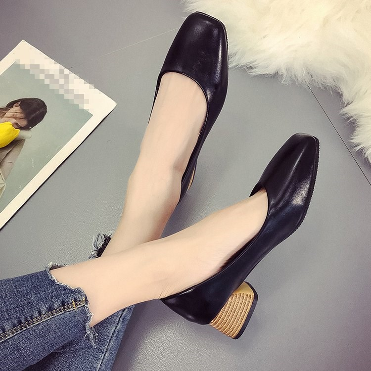EOEODOIT 2019 Spring Autumn Med Square Heel Leather Pumps Shoes Slip On Square Toe Chunky Heel Women Casual Heels ShoesEOEODOIT 2019 Spring Autumn Med Square Heel Leather Pumps Shoes Slip On Square Toe Chunky Heel Women Casual Heels Shoes