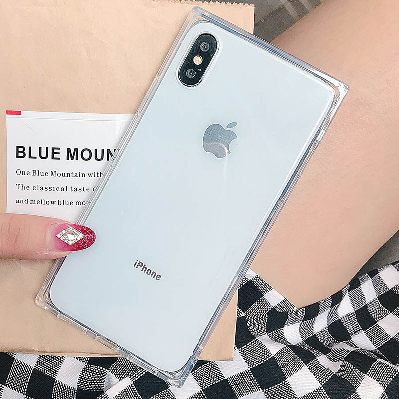 Rectangle Phone Case For iPhone XS Case For iPhone XR XSMax 8Plus X 8 7 6 6S Plus Cases Fashion Plain Silicone Soft Cover Coque