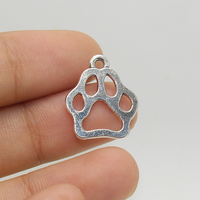 20pcs-- Pet footprints charm 17X20mm Antique silver tone dog's paw Charms pendant