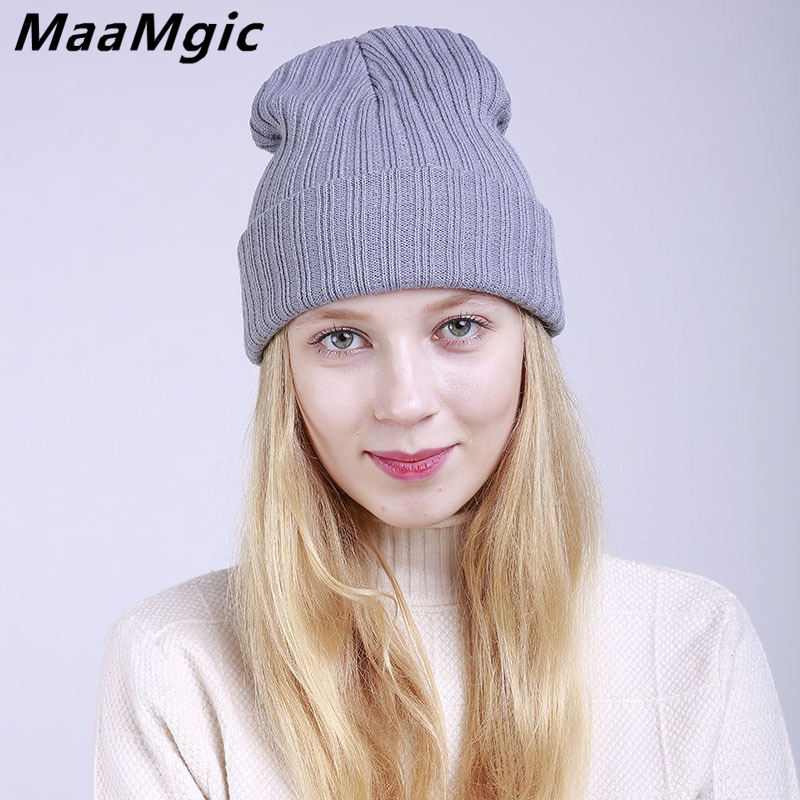 Casual 2017 New Skullies Beanies Winter Hat For Women Warm Hat Fashion Knitting Warm Cap Warm Girl Hat Cap Fashion Winter Hat skullies