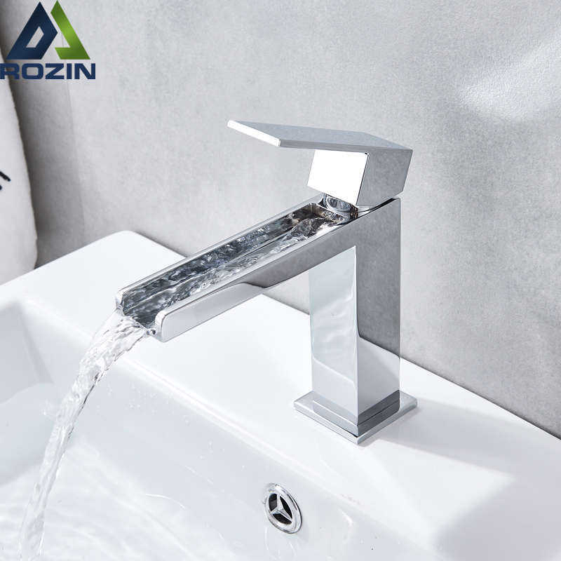 Waterfall Long Spout Basin Faucet Single Handle Brass Chrome Hot Cold Water Tap Deck Mounted Bathroom Vessel Sink Tap One Hole waterfall basin faucet chrome single handle brass basin mixer tap bathroom deck mounted vessel sink hot cold water tap mixer