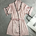 Pink Mid-Sleeve Sexy Women's Robe Dress Gown Plus Size XL Bathrobes 2017 Summer Style Female Satin Nightgown Lace Sleepwear