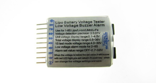 Free shipping 1-8S Low Voltage battery tester Buzzer Alarm 1-8S LED Low Voltage Buzzer Alarm Lipo Voltage Indicator checker
