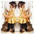 Hot Bebê Meninas Crianças Vestido de Camisa + Legging Calças Roupas Casuais Define Outfits Frete Grátis