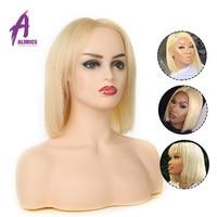 613 блонд короткий боб парик шнурка прямые волосы полный шнурок человеческих волос парики бразильские волосы remy бесклеевой парик на сеточке