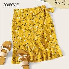 COLROVIE, желтая Цветочная юбка с рюшами и бантом, Женская мини-юбка в стиле бохо, летняя красная одежда для пляжного отдыха, женские юбки