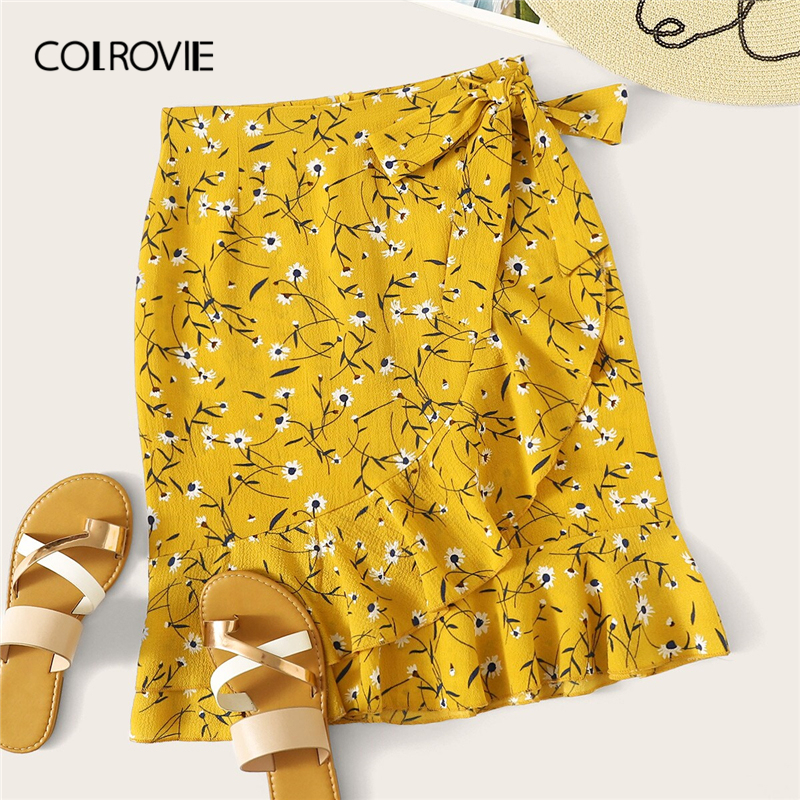 COLROVIE Yellow Ditsy Floral Ruffle Hem Knot Wrap Girly Boho Mini Skirt Women 2019 Summer Red Beach Holiday Wear Female Skirts