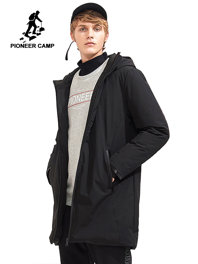 Pioneer Camp new thick hooded   down     coat   men brand clothing solid winter white duck   down   jacket male top quality black AYR705107