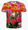 3D SHOW 2015 nueva moda llegado 3D hombres de la camiseta mujeres imprimen la manga corta Tops hermosas flores diseño de marca camiseta talla M-XXL