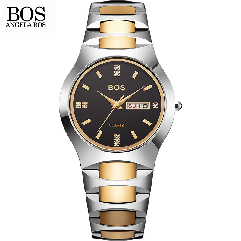 ANGELA BOS Fashion Brand Dress Watches Womens Tungsten Steel Lovers Couple Quartz Watch font b Simple
