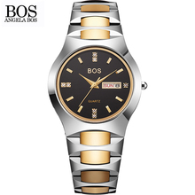 ANGELA BOS Fashion Brand Dress Watches Womens Tungsten Steel Lovers' Couple Quartz Watch Simple Business Men Watch Reloj Mujer