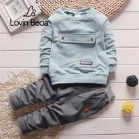 LOVIN BECIA 2pcs Set Baby Clothes Kids Suits Big Bag Clothing Pants Children Tracksuit Boys Spring