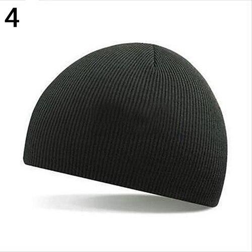 Men Women Hat Hip-Hop Woolen Yarn Knitted Ski Beanie Cap Warm Winter Cuff Hat casual men s autumn and winter warm woolen yarn hat grey black