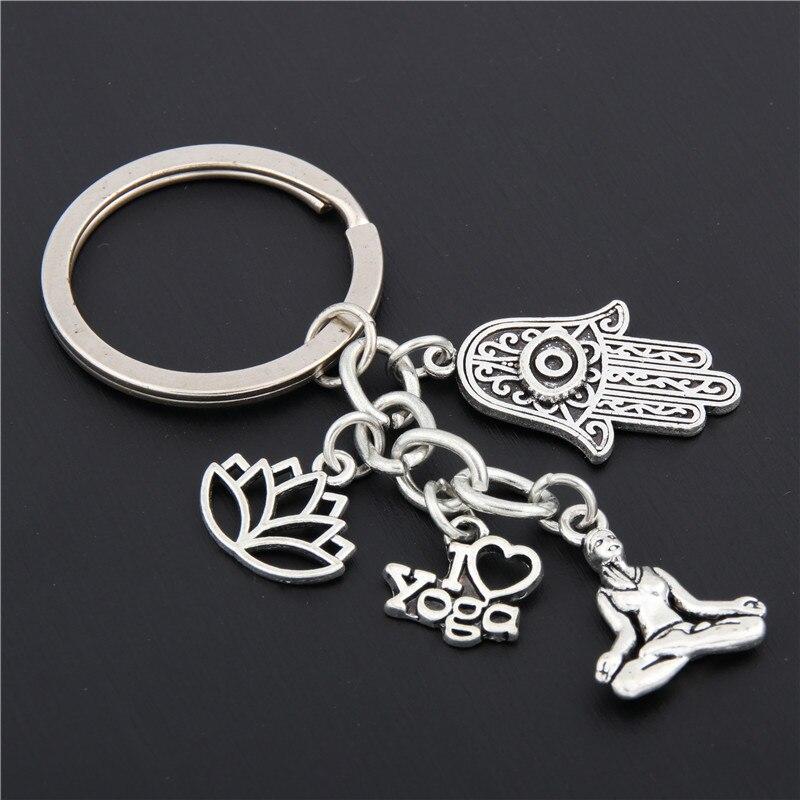 1pc Silver I Love Yoga Keychain Hamsa Hand Charms Ohm Symbol Keyring Lotus Jewelry OM Handbag Jewelry DIY E1658