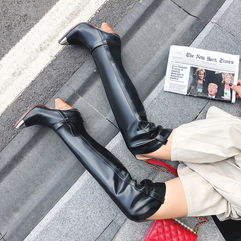 2019 플러스 사이즈 34 45 새로운 정품 가죽 부츠 여성 금속 하이힐 가을 겨울 무릎 부츠 섹시한 숙녀 허벅지 부츠-에서무릎위 부츠부터 신발 의  그룹 3