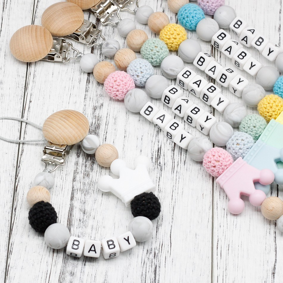 Diy Silicone Personalised Name Baby Pacifier Clips Funny Pacifier