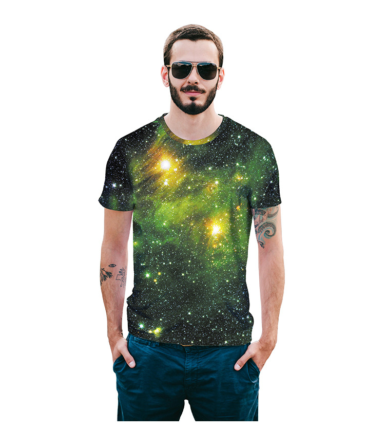 Mr.1991INC Green Starry sky Aurora print T-shirt for men/women 3d t shirt casual Space Galaxy tops tees summer mens t-shirts