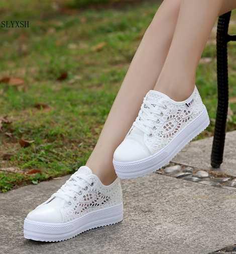 Nuevos zapatos de moda de verano para mujer, zapatos de lona de encaje, zapatos planos de plataforma respirables florales huecos, sapato feminino35-40