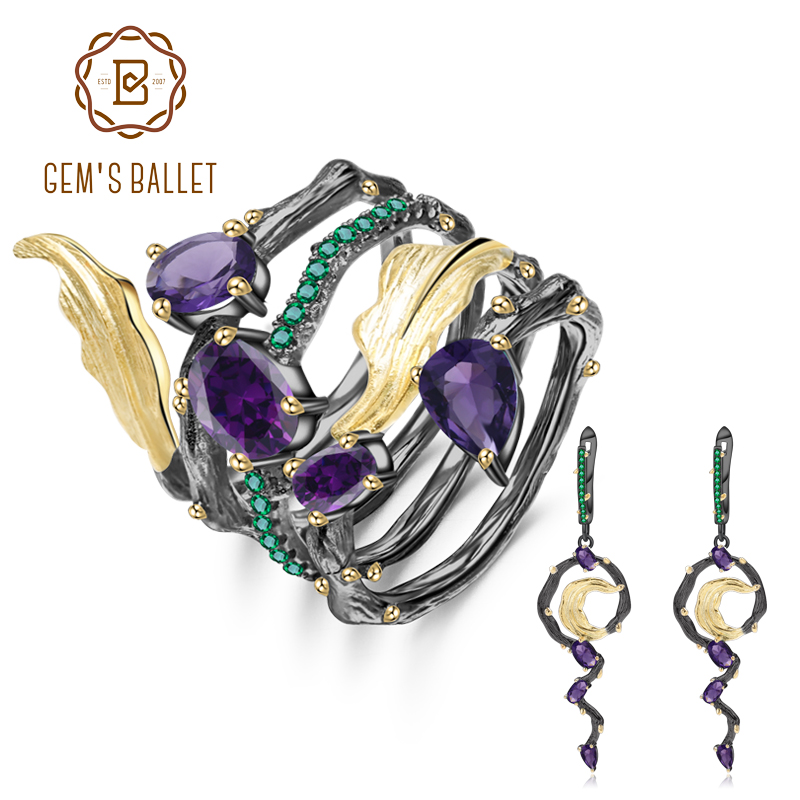 GEM S BALLET 3 19Ct Natural Amethyst Earrings Ring Set 925 Sterling Silver Vintage Gothic Jewelry
