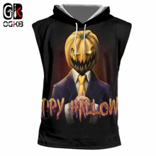 OGKB Happy Halloween 3D Printed New Pumpkin Gothic Women Hot Sale Tshirt Large Size Leisure Hooded Tank Top(China)