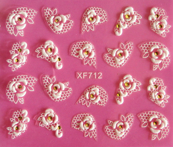 Europe beauty white flower rose lace carved 3D nail art stickers 3D nail stickers tools