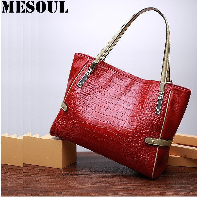 Women Crocodile Pattern Handbag Fashion Casual Tote Large Shoulder Bags Ladies Brand Genuine Leather Shopping Bag Gift Hand Bag soar women leather handbags large women bag shoulder bags ladies brand alligator crocodile pattern hand bags tote female blosa 3