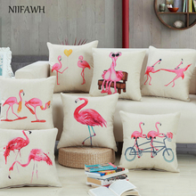 New Wedding Decorative Flamingo Print Pillow Cover Office Pillows Waist Back Stylish Simple Cushion Case 45X5cm